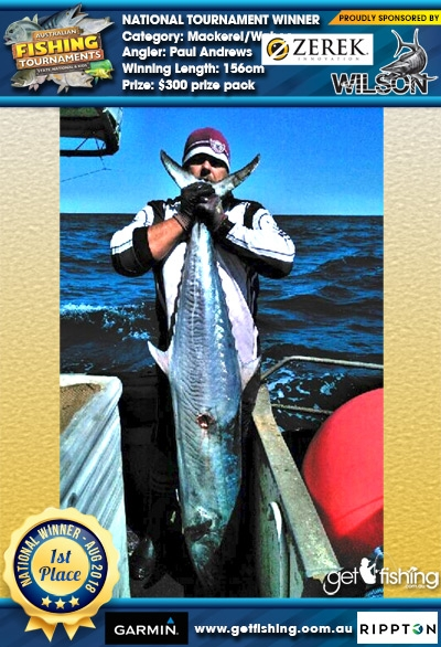 Mackerel/Wahoo 156cm Paul Andrews Wilson/Zerek $300 prize pack