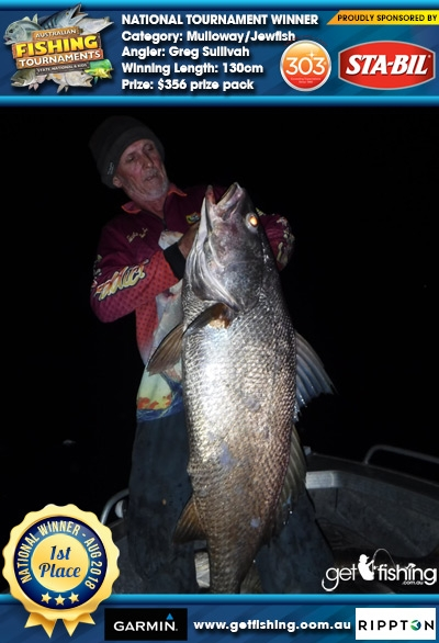 Mulloway/Jewfish 130cm Greg Sullivah STA-BIL Marine and 303 Protectants and Cleaners $356 prize pack