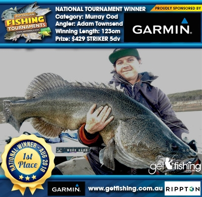 Murray Cod 123cm Adam Townsend Garmin $429 STRIKER 5dv