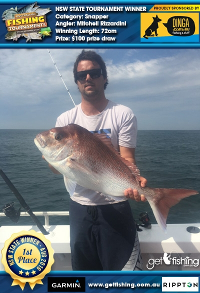 Snapper 72cm Mitchell Rizzardini Dinga Fishing $100 prize draw