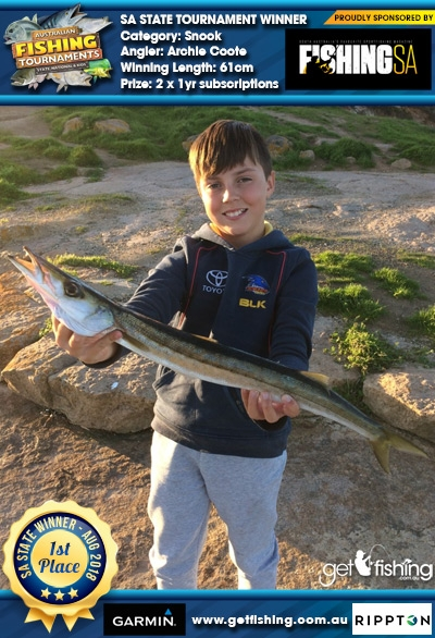 Snook 61cm Archie Coote Fishing SA 2 x 1yr subscriptions