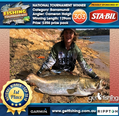 Barramundi 129cm Cameron Haigh STA-BIL Marine and 303 Protectants and Cleaners $356 prize pack