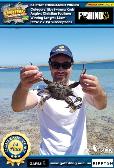 Blue Swimmer Crab 14cm Christian Faulkner Fishing SA 2 x 1yr subscriptions