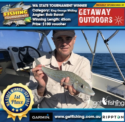 King George Whiting 45cm Rob Ravot Getaway Outdoors $100 voucher