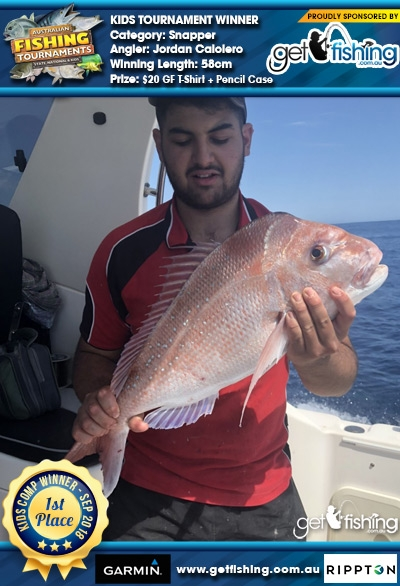 Snapper 58cm Jordan Caloiero Get Fishing $20 GF T-Shirt + Pencil Case