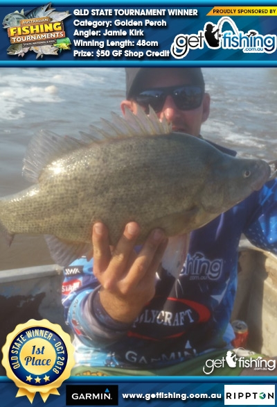 Golden Perch 48cm Jamie Kirk Get Fishing $50 GF Shop Credit