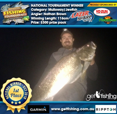 Mulloway/Jewfish 116cm Nathan Brown Eagle Claw/Yo-Zuri $300 prize pack