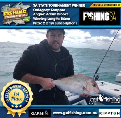 Snapper 54cm Adam Brooks Fishing SA 2 x 1yr subscriptions