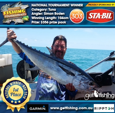 Tuna 104cm Simon Boden STA-BIL Marine and 303 Protectants and Cleaners $356 prize pack