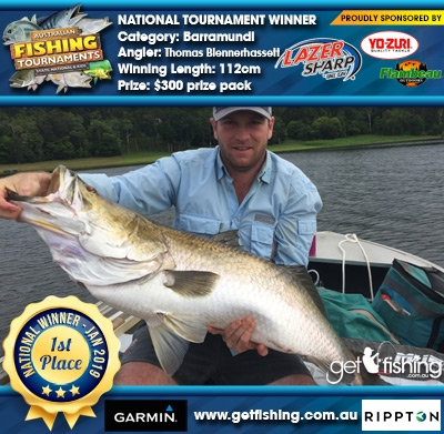 Barramundi 112cm Thomas Blennerhassett Eagle Claw/Yo-Zuri $300 prize pack