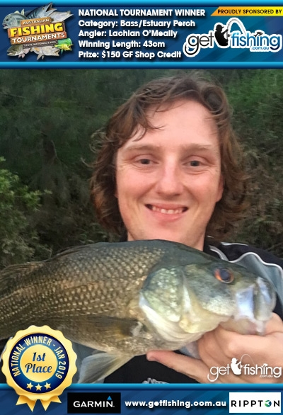 Bass/Estuary Perch 43cm Lachlan O'Meally Get Fishing $150 GF Shop Credit