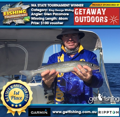 King George Whiting 46cm Glen Passmore Getaway Outdoors $100 voucher