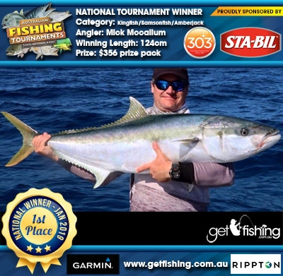 Kingfish/Samsonfish/Amberjack 124cm Mick Mccallum STA-BIL Marine and 303 Protectants and Cleaners $356 prize pack