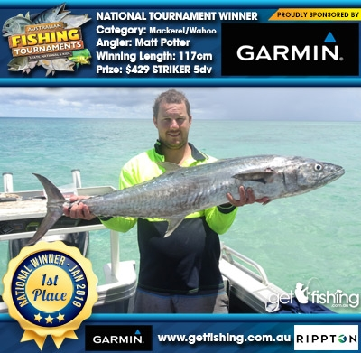 Mackerel/Wahoo 117cm Matt Potter Garmin $429 STRIKER 5dv