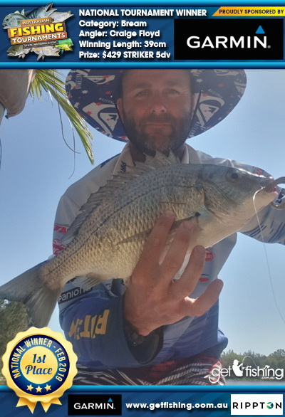 Bream 39cm Craige Floyd Garmin $429 STRIKER 5dv