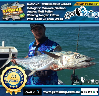 Mackerel/Wahoo 119cm Matt Potter Get Fishing $150 GF Shop Credit