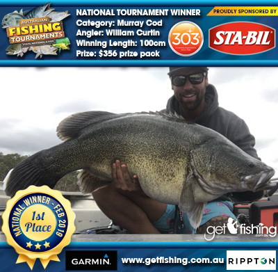 Murray Cod 100cm William Curtin STA-BIL Marine and 303 Protectants and Cleaners $356 prize pack