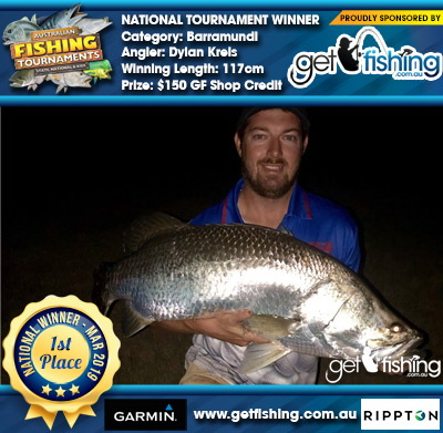 Barramundi 117cm Dylan Kreis Get Fishing $150 GF Shop Credit