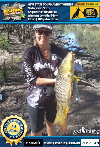 Carp 64cm Nat Reynolds Dinga Fishing $100 prize draw