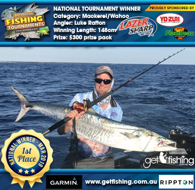 Mackerel/Wahoo 148cm Luke Rafton Eagle Claw/Yo-Zuri $300 prize pack