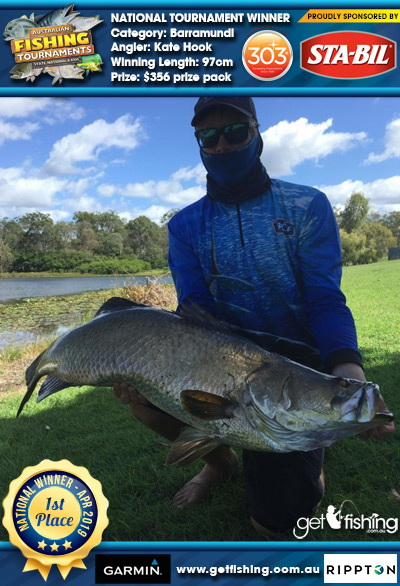 Barramundi 97cm Kate Hook STA-BIL Marine and 303 Protectants and Cleaners $356 prize pack