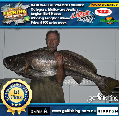 Mulloway/Jewfish 143cm Bert Hayes Eagle Claw/Yo-Zuri $300 prize pack