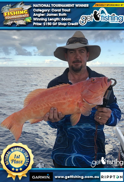 Coral Trout 66cm James Roth Get Fishing $150 GF Shop Credit