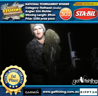 Flathead (dusky) 89cm Kim Richter STA-BIL Marine and 303 Protectants and Cleaners $356 prize pack