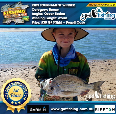 Bream 32cm Oscar Boden Get Fishing $30 GF T-Shirt + Pencil Case