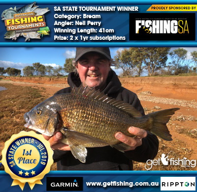 Bream 41cm Neil Perry Fishing SA 2 x 1yr subscriptions