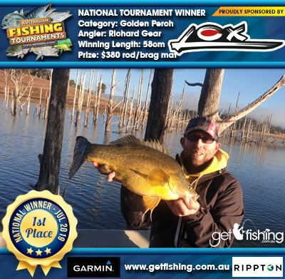 Golden Perch 58cm Richard Gear Lox $380 rod/brag mat
