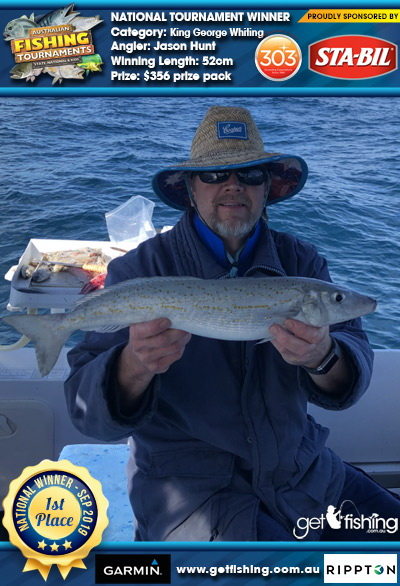 King George Whiting 52cm Jason Hunt STA-BIL Marine and 303 Protectants and Cleaners $356 prize pack