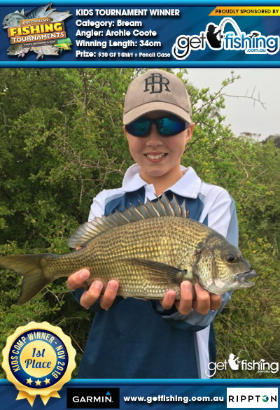 Bream 34cm Archie Coote Get Fishing $30 GF T-Shirt + Pencil Case